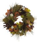 Blooming Autumn Cotton, Pumpkin, Pinecone, Berries & Leaves Wreath