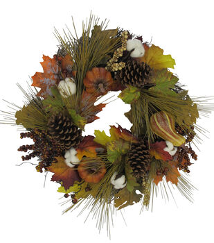 Wreaths fall winter spring wreaths joann blooming autumn cotton pumpkin pinecone berries leaves wreath mightylinksfo