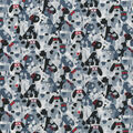 Novelty Cotton Fabric-Black & White Dots with Red Glasses