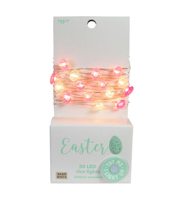 Easter Decor 30 ct Multicolor Eggs with Warm White LED Rice Lights