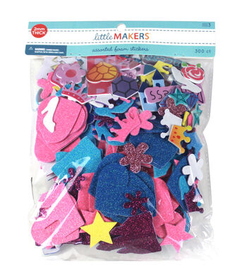 Little Makers Solid and Glitter Foam Stickers-Princess
