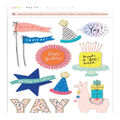 Crate Paper Hooray Dimensional Stickers with Glitter & Pom Pom Accents