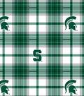 Michigan State University Spartans Fleece Fabric -Plaid