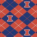 University of Illinois Fighting Illini Fleece Fabric -Argyle