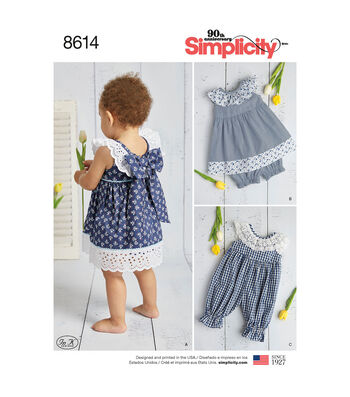 Simplicity Pattern 8614 Babies' Dress, Romper & Panties-Size A (XXS-L)