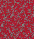 Quilter\u0027s Showcase Cotton Fabric 44\u0022-Red Gray Floral Vines