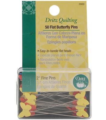 """Dritz Quilting Flat Butterfly Pins 2""""-50/pkg"""