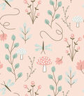 Nursery Flannel Fabric -Woodland Floral on Coral