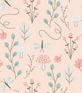 Nursery Flannel Fabric 42\u0027\u0027-Woodland Floral on Coral