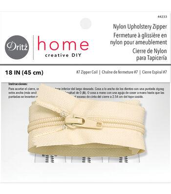 "Dritz Home Nylon Upholstery Zipper Cream 18"""