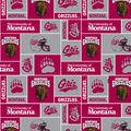 University of Montana Grizzlies  Fleece Fabric -Red & Gray Block