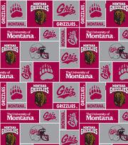 """University of Montana Grizzlies  Fleece Fabric 60""""-Red & Gray Block, , hi-res"""