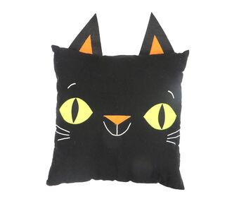 Maker's Halloween 18''x18'' Novelty Pillow with Ears-Black Cat