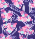 Blizzard Fleece Fabric 59\u0022-Sketched Bubble Hearts