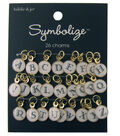 hildie & jo Symbolize 26 Pack Gold Charms-Black Alphabet on White