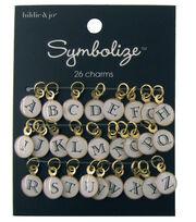 hildie & jo Symbolize 26 Pack Gold Charms-Black Alphabet on White, , hi-res