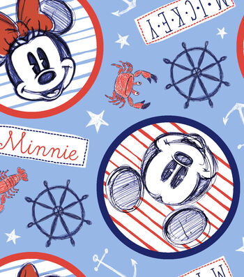 Disney Mickey & Minnie Mouse Fleece Fabric 59''-Nautical at Sea