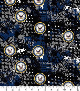 Navy Cotton Fabric-Abstract Geo Logo