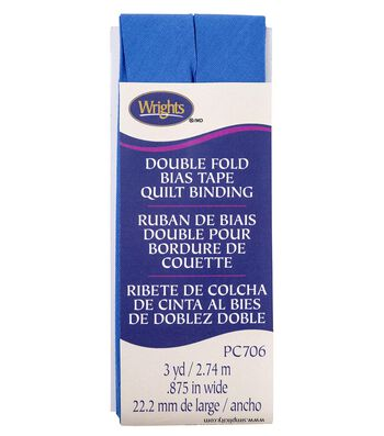 Wrights Double Fold Quilt Binding Bias Tape 0.88''x3 yds-Royal