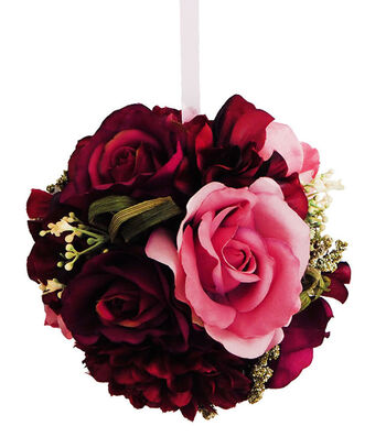 Blooming Autumn Large Frosted Rose & Dahlia Kissing Ball-Burgundy
