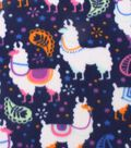 Blizzard Fleece Fabric 59\u0022-Techno Llamas