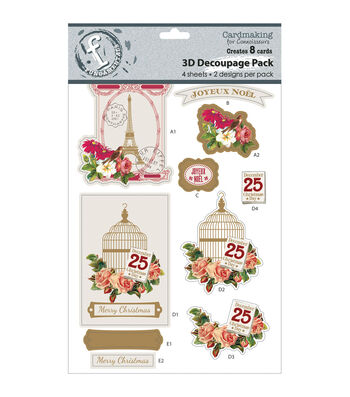 Fundamentals 3D Decoupage Pack 2 Designs/2 Each-Joyeux Noel-Makes 8 Cards