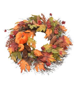 Blooming Autumn Pumpkin, Pinecone & Lantern Wreath