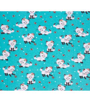 Super Snuggle Flannel Fabric-Pretty Kitty Plays