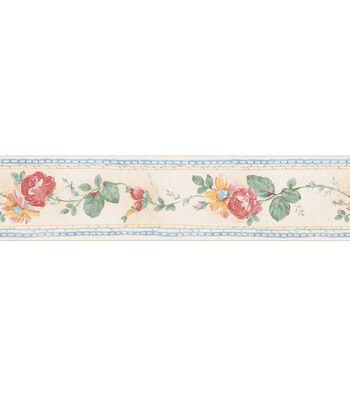 Folk Floral Trail Wallpaper Border, Cream