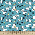 Peanuts Cotton Fabric-Snoopy & Woodstock Playing