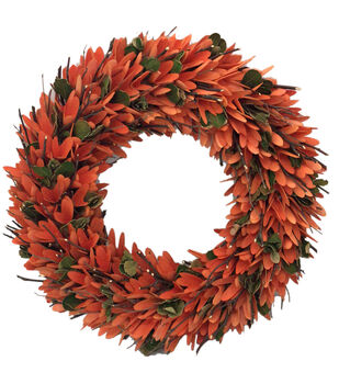 Blooming Autumn 18'' Woodchip & Twig Wreath-Orange & Green