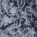 Embroidered Cotton Denim Fabric-Dark Wash Tie Dye