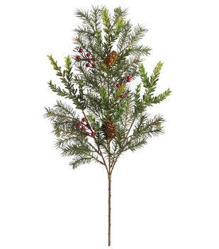 Handmade Holiday Christmas 27'' Hemlock, Angel Pine & Red Berry Spray