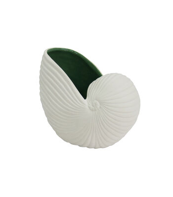 Seaside White Seashell Container with Green Inside
