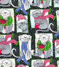 Christmas Cotton Fabric-Winter Cat Squares