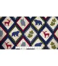 Anti-Pill Fleece Fabric -Wildlife on Diamond Woodgrain