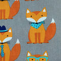 Novelty Cotton Fabric -Foxes On Gray