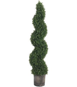 Spiral Boxwood Topiary in Black Plastic Pot 60''