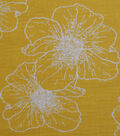 Homestead Crinkle Cotton Fabric-Yellow Outline Flowers