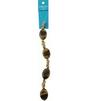 hildie & jo 7'' Metal & Oval Brown Stone Strung Beads