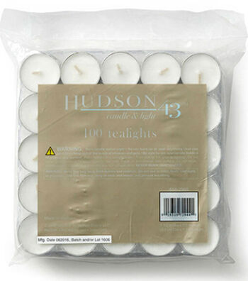 Hudson 43™ Candle & Light Collection 100pk Unscented Pressed Tealights-White