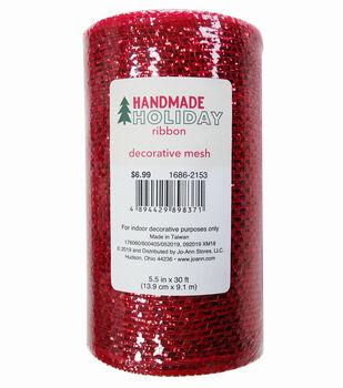 Handmade Holiday Christmas Metallic Decorative Mesh Ribbon 5.5''x30'-Red