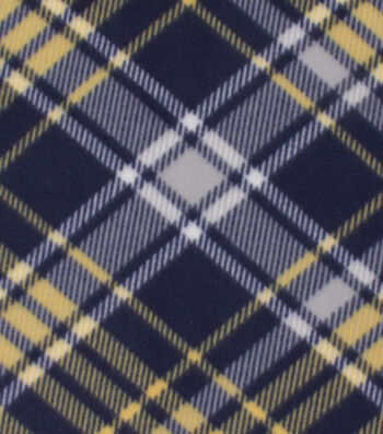 Blizzard Fleece Fabric -Kate Navy & Gold Plaid