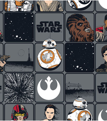 "Star Wars: The Force Awakens Cotton Fabric 44""-Heros in Squares"
