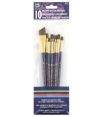 Loew-Cornell Simply Art 10 pk Brown Nylon Brushes