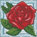 RTO Diamond Mosaic Embroidery Kit 15X15cm-Rose In Lace