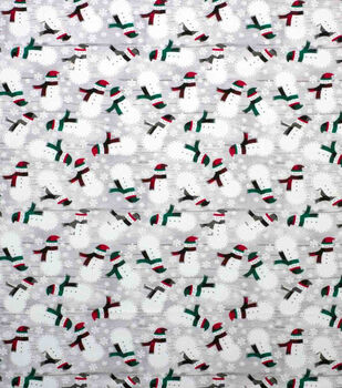 Super Snuggle Flannel Fabric-Snowman and Scarves