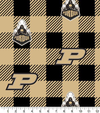 Purdue Boilermakers Fleece Fabric-Buffalo Plaid