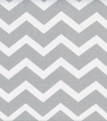Keepsake Calico Cotton Fabric 43''-Gray & White Chevron