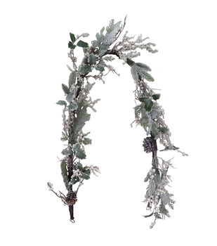Handmade Holiday Christmas 66'' Frosted Holly, Berry & Pinecone Garland